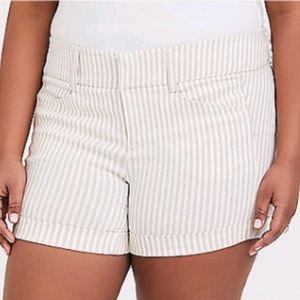 Torrid cream and white striped studio shorts